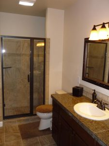 This is a different angle of a basement finish bathroom