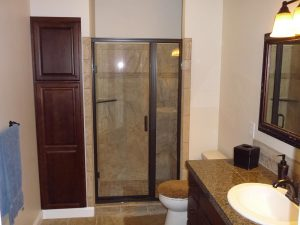 This is another bathroom as part of a basement finish.
