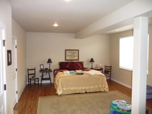 This is a bedroom as part of a basement finish.