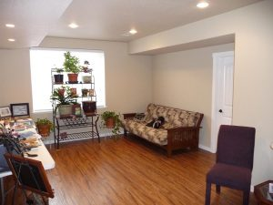 This is a basement finish with a hardwood floor.