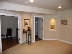This is a basement finish hall leading to other finished rooms.