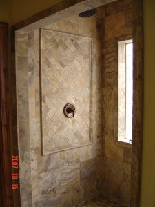 custom tile shower stall with glass block window