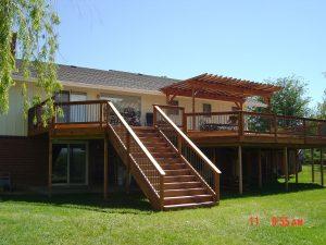 second story wood deck with stairs