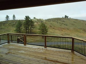 the deck on a custom built Colorado foothills home