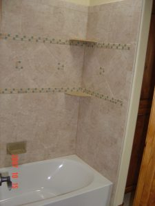 Shown here is a custom tile bathroom in a custom built home.