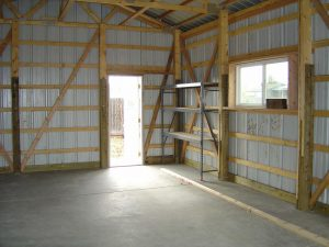 Here is the initerior view of a pole barn.