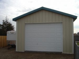 This shows the garage door on a custom pole barn