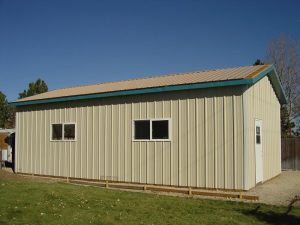 This is the side view of a custom pole barn, showing the windows.