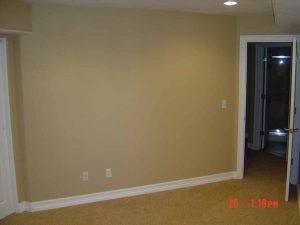 This is a picture of a bedroom that is part of a basement finish.