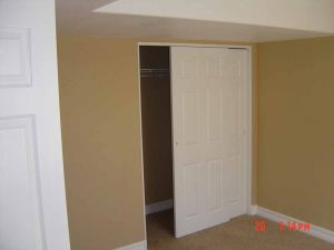 Here is a bedroom closet as part of a basement finish.