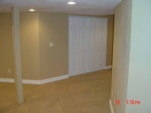 This is a basement finish showing walls and a closet.