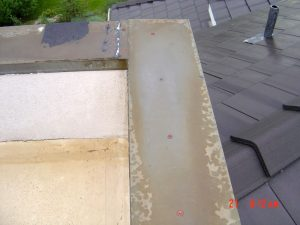 Shown here is water damage on the roof of a house.