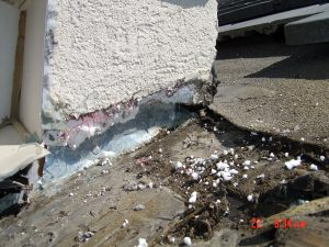 Shown here is a roof with water damage.