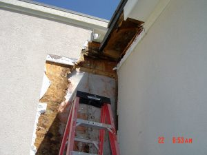 Shown here is an exterior wall with water damage being repaired.