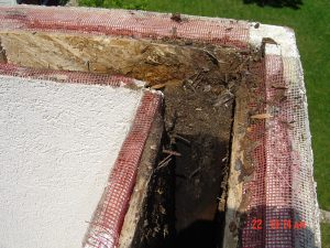 This is a roof edge with water damage.