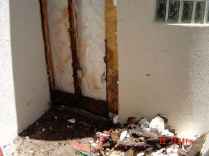This is an exterior wall with exposed water damage.
