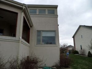 This is the exterior of a home whose extensive water damage was repaired.