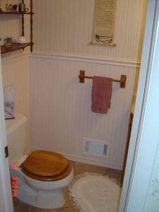 This is a bathroom remodel showing the wainscot wall.
