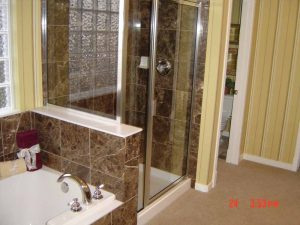 This is a remodeled shower and tub.