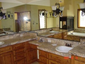 This is a picture of the sinks in a remodeled bathroom.
