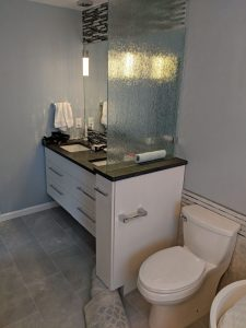 Shown here is the sink area in a full bathroom remodel.