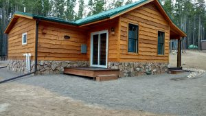 Shown here is the exterior of a custom cabin.