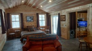 This is the open living area of a custom cabin.
