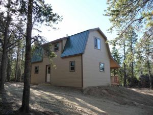 This is a side view of a custom Colorado cabin in the woods.