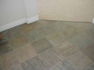 This shows the tile floor entryway in a custom home.