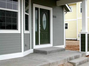This is the exterior door and entryway of a custom home.