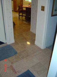 This picture shows a custom tile floor.