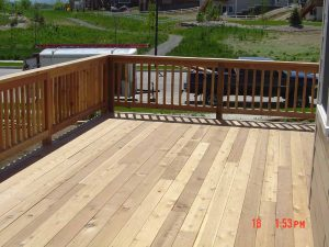 This is a custom wood deck.
