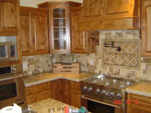 This is a kitchen remodel with custom tile.