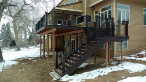 This shows a second story deck with stairs.
